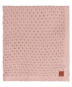 Πλεκτή βαμβακερή κουβέρτα καροτσιού κρεβατιου και αγκαλιάς ροζ buddy and hope