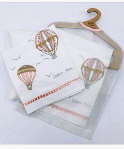Βρεφικά σεντόνια με μαξιλαροθήκη Air Balloon in Dusty Pink