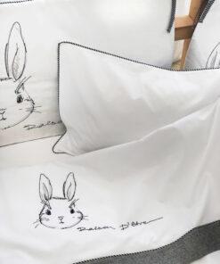 Bunny in Anthracite βρεφικά σεντόνια με μαξιλαροθήκη