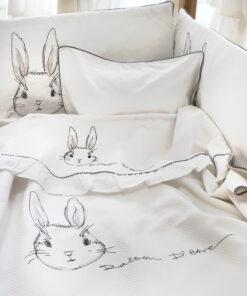 Bunny in White Βρεφικά σεντόνια με μαξιλαροθήκη