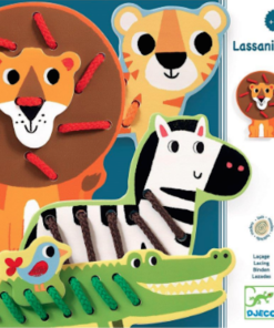 Djeco Εκπαιδευτικό παιχνίδι λεπτής κινητικότητας με κορδόνια 'Ζωάκια Ζούγκλας'