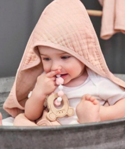 Παιδικό βρεφικό μπουρνούζι πόντσο Dusty Pink