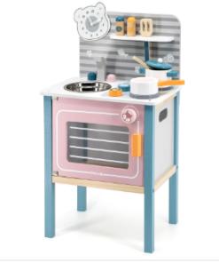 Polar B ξύλινη κουζίνα με σκεύη και αξεσουάρ