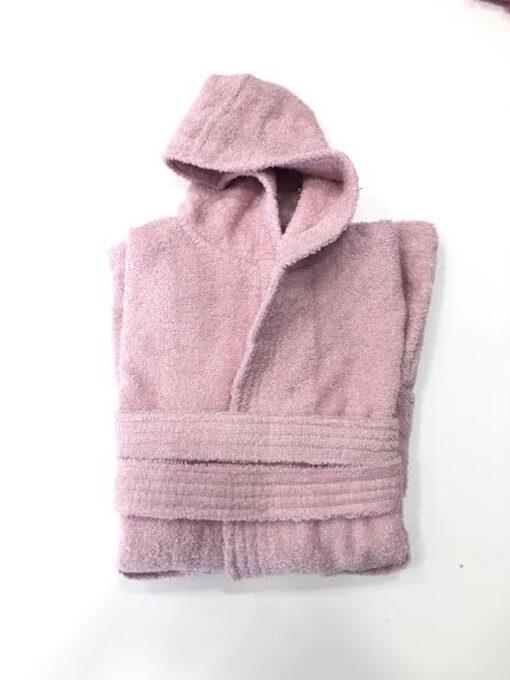Παιδικό μπουρνούζι βαμβακερό Ροζ απαλό 8 έως 10 ετών