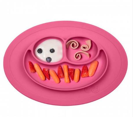 Ezpz Δίσκος και πιάτο σε ένα Happy mat in Pink