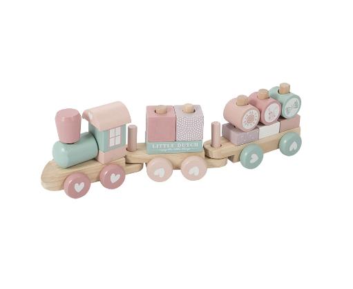 LITTLE DUTCH Ξύλινο τρενάκι με άσκηση λεπτής κίνησης Adventure Pink