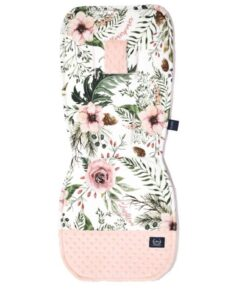 ORGANIC JERSEY STROLLER PAD WILD BLOSSOM MIKNY POWDER PINK