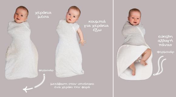 """Τυλίγοντας το μωρό σας με τα χέρια μέσα σημαίνει ότι θα αισθάνονται ασφαλή, όπως όταν ήταν στην κοιλίτσα σας, και ο φυσικός αντανακλαστικός αιφνιδιασμός θα μειωθεί. Αυτό θα βοηθήσει το μωρό σας να κοιμηθεί ευκολότερα και περισσότερο. Το σχήμα κλεψύδρας δημιουργεί μια ακόμα καλύτερη εφαρμογή και βοηθά να διασφαλιστεί ότι τα πόδια του μωρού βρίσκονται σε μια φυσική θέση """"βατραχάκι"""" κατά τον ύπνο που είναι σημαντικό για τη σωστή ανάπτυξη του ισχίου. Το διπλής κατεύθυνσης φερμουάρ σας βοηθάει στην αλλαγή της πάνας, ειδικά κατά την διάρκεια της νύχτας, χωρίς να ενοχλείτε το μωρό σας! Είναι πολύ εύκολο στην χρήση και σχεδιασμένο από την Grobag, τους ειδικούς για έναν ασφαλή ύπνο. Τυλίξτε τα χεράκια μέσα ή έξω για εύκολη μετάβαση από το φάσκιωμα στον υπνόσακο Υγιή ανάπτυξη ισχίων - ειδικά σχεδιασμένο για να επιτρέπει στα ποδαράκια να αναπτύσσονται φυσικά Εύκολο άνοιγμα – φερμουάρ διπλής κατεύθυνσης για εύκολη αλλαγή πάνας Εξαιρετική αίσθηση άνεσης - πολύ μαλακό ύφασμα και τέλεια εφαρμογή Εύκολο φάσκιωμα - χωρίς πολύπλοκα δεσίματα Πάνα αγκαλιάς και υπνόσακος μαζί Κατάλληλο για μωράκια 0-4 μηνών, με βάρος 3–6 κιλά (51-62 εκ.) Ιδανικό για θερμοκρασίες 16-20°C Το Gro Snuggle προσφέρει στο μωρό σας ένα ασφαλή και άνετο ύπνο."""