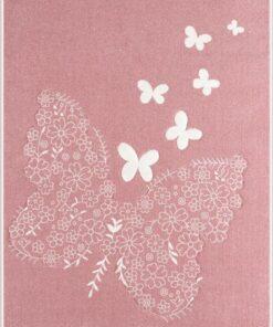 Παιδικό χαλί Butterflies Dusty Pink 133Χ190