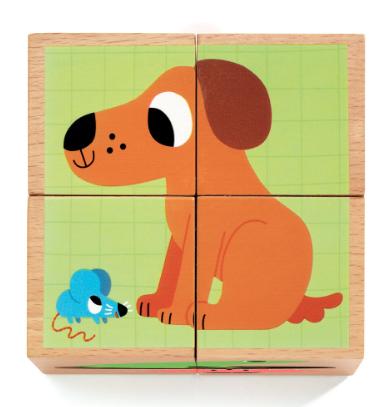 Djeco 4 ξύλινοι κύβοι παζλ Σκυλάκι