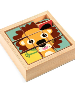 Djeco παζλ με περιστρεφόμενα τετράγωνα σε ξύλινο πλαίσιο Λιοντάρι και ζωάκια