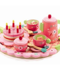 Djeco ξύλινο σετ τσαγιού με δίσκο και τούρτα γενεθλίων ροζ