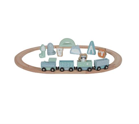 LITTLE DUTCH. Ξύλινο τρενάκι με οχήματα Adventure Blue