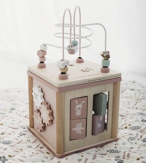 LITTLE DUTCH Ξύλινος κύβος δραστηριοτήτων με προγραφή Adventure Pink