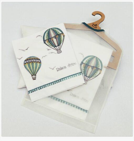 Βρεφικά σεντόνια με μαξιλαροθήκη Air Balloon in Mint