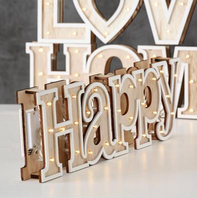Ξύλινη φωτεινή πινακίδα HAPPY