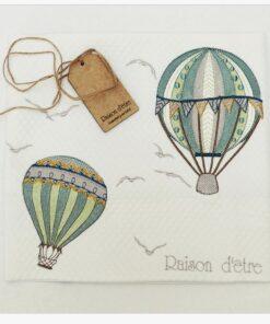 Hot Air Balloon Green βαμβακερή κουβέρτα κρεβατιου XL