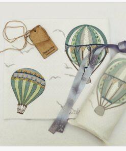 Air Ballon Green βαμβακερή κουβέρτα καροτσιού κρεβατιου και αγκαλιάς
