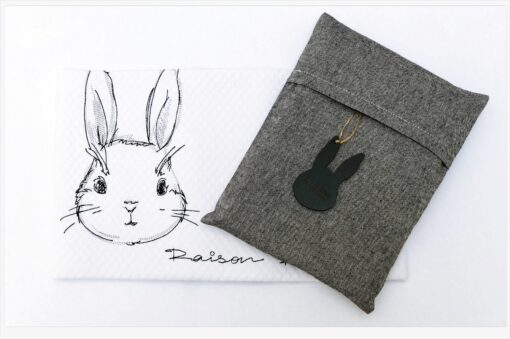 Bunny in Antracite βαμβακερή κουβέρτα καροτσιού κρεβατιου και αγκαλιάς