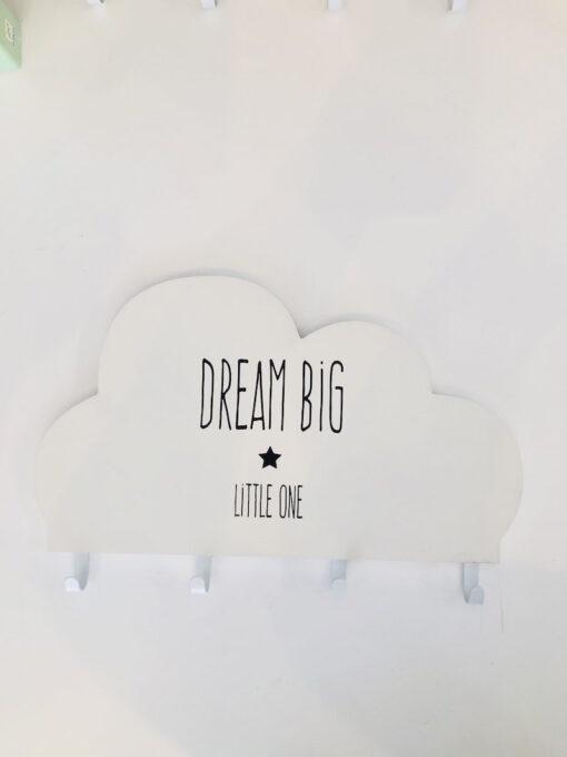 Ξύλινη παιδική κρεμάστρα Dream Big λευκό
