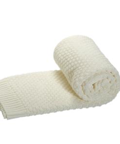 Greta & Bo πλεκτή κουβέρτα καροτσιού αγκαλιάςMilkie White