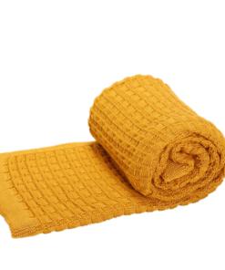 Greta & Bo πλεκτή κουβέρτα καροτσιού αγκαλιάςStroke Honey