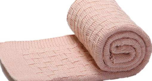 The Nest πλεκτή κουβέρτα καροτσιού αγκαλιάς Alps Dusty Pink