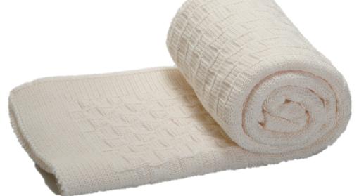 The Nest πλεκτή κουβέρτα καροτσιού αγκαλιάς Alps White