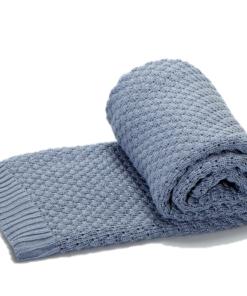 Greta & Bo πλεκτή κουβέρτα καροτσιού αγκαλιάςOceanic Blue