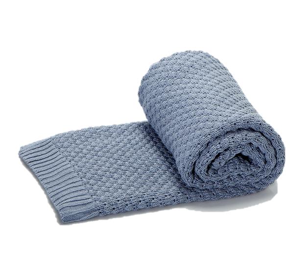 Greta & Bo πλεκτή κουβέρτα καροτσιού αγκαλιάς Oceanic Blue