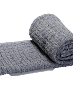 Greta & Bo πλεκτή κουβέρτα καροτσιού αγκαλιάςStroke Grey