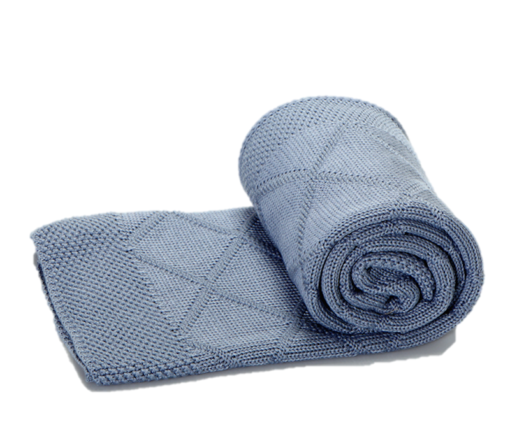 Greta & Bo πλεκτή κουβέρτα καροτσιού αγκαλιάςDiagonal Blue