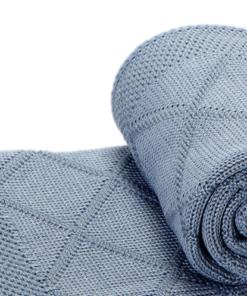 The Nest πλεκτή κουβέρτα καροτσιού αγκαλιάς Diagonal Blue
