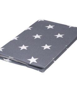 Υφασμάτινη Θήκη βιβλιαρίου με μοτίβο Αστέρια γκρι