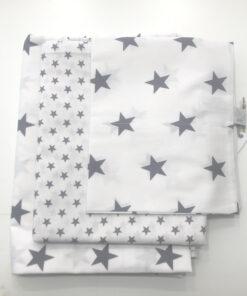 Βρεφικά σεντόνια με μαξιλαροθήκη Grey White Stars