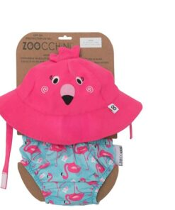 Zoocchini Σετ πάνα Μαγιό και Καπέλο UPF50+ Φλαμίνγκο ZOO1706