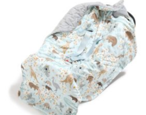 La Millou Organic Jersey Car Blanket DUNDEE & FRIENDS Blue Grey