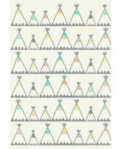Παιδικό Χαλί Άσπρο-Μπεζ Ινδιάνικες Σκηνές 135x190cm