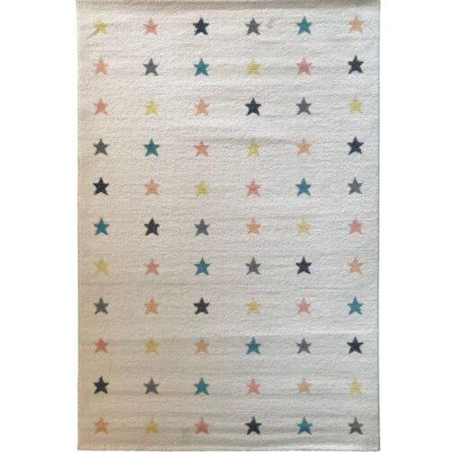 Παιδικό Χαλί Άσπρο-Μπεζ Αστεράκια 160x230cm